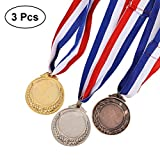 STOBOK 3pcs Vainqueur des Médailles avec Collier De Ruban Or Argent Bronze Médailles De Style Olympique pour Les Académiques De Sport ou Toute Compétition