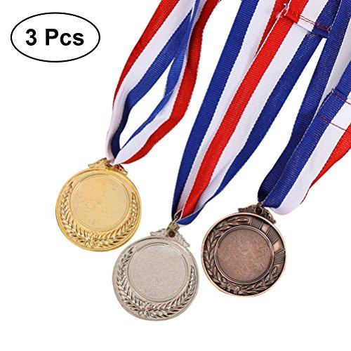 TOYMYTOY Medaglie premio vincitore 3pcs con nastro per collo Medaglie argento bronzo stile olimpico per accademici sportivi o qualsiasi competizione D