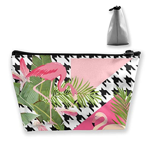 Seamless Tropical Flowers and Flamingo Pattern Personalized Trapezoidal Storage Bag Ladies Waterproof for Carrying Travel