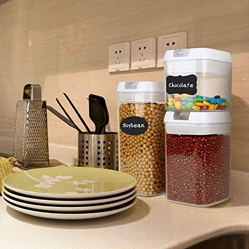 Air-Tight Food Storage Container Set - MCIRCO 7 Pieces Set Food Container with Bonus 20pcs Chalkboard Labels - Durable Plastic BPA Free - Easy Lock Lids to Keep Food Fresh