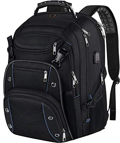 18.4 Laptop Backpack for Men, 55L Extra Large Gaming Laptops Backpack with USB Charger Port,TSA Frie