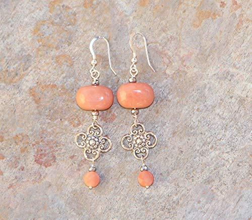 Peach Aventurine gemstone long chandelier earrings
