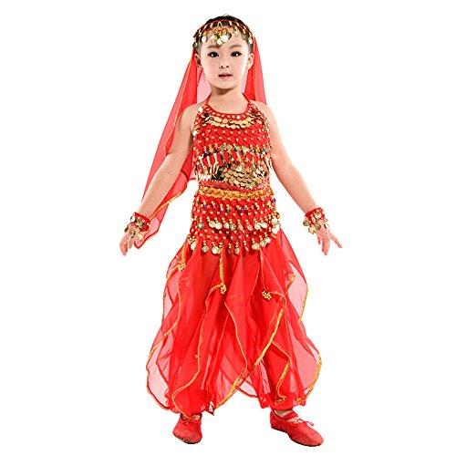 BOZEVON Niños Niñas Trajes de Lentejuelas Indias de Danza del Vientre, Egipto Baile Ropa de Cosplay, Tops + Pantalones + Cadenas de Cintura + 2 Pulseras + Velo (Rojo,EU M = Tag L)