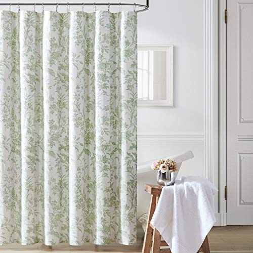 Laura Ashley Home | Natalie Collection | Shower Curtain-100% Cotton & Lightweight, Stylish Floral Design, Machine Washable for Easy Care, 72 x 72, Sage