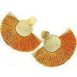 CNSP Pendientes Jewellery Yellow Tassel Earrings For Women Bohemian Boho Long Dangle Earring Circle Flow