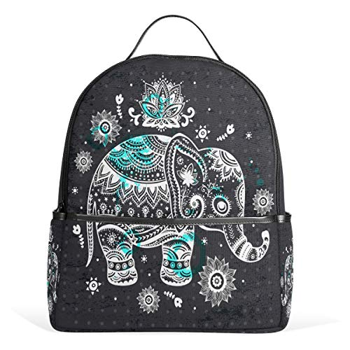 Wamika Vintage Ethnic Elephant Lotus Flowers Backpack Bookbags Daypack Bags Water Resistant, Wildlife Animal Elephant Indian Persian Floral Bag Mini Backpack Purse Travel Sports for Men Women
