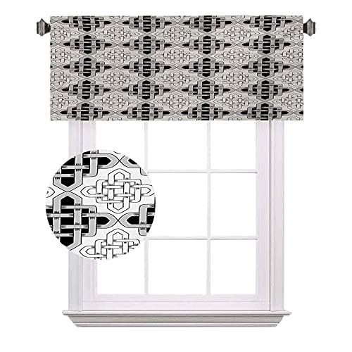 Cortinas de media ventana celta, estilo escandinavo, con entrelazado, diseño antiguo, vintage, apto para pequeñas ventanas en cocinas y baños, 42 x 12 pulgadas, gris y blanco