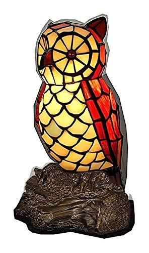 Tiffany lámpara de mesa Lámpara de Noche Búho creativa forma de Tiffany lámpara de mesa de noche de estilo manchado animales vidrio lámpara de escritorio mesita de noche luz de interior pequeñ