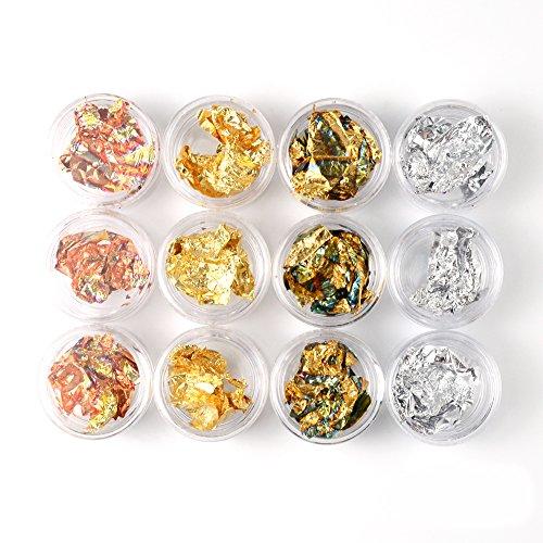 QIMEIYA Feuille Ongles Couleur Métallique Flocons Rose Or Argent Paillette Nail Art Decoration Accessoire Manucure