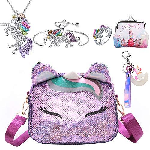 6Pcs Borsa Unicorno Bambina Zaino Unicorno Regali per Ragazze Collana Unicorno Bracciale unicorno anello portamonete borsa regalo Bambini