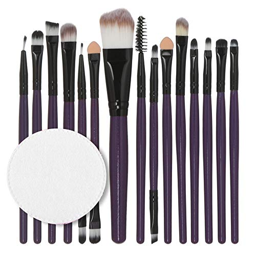 15 Make-up-Pinsel, Holzgriff Wattepad-Set von Make-up Pinsel Multifunktions-Lippenpinsel Auge Pinsel...