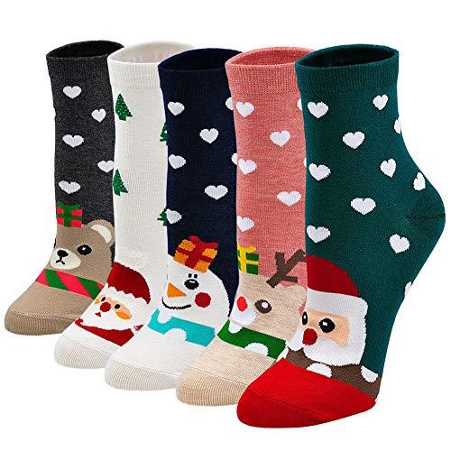 Chaussette Femme Fantaisie, Coton Hiver Doux Bas Respirant Socquettes, EU 35-42, Motif Noël, 5 Paires