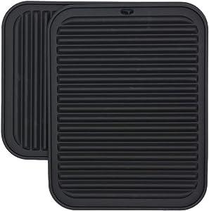 Silicone Trivet, Heat Resistant Trivet Mat Set of 2, Hot Pad for Pot Holder, Counter Top Protector and Spoon Rest, Food Grade Safe Rectangular Black