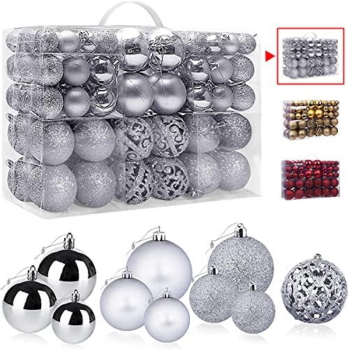Bolas de Navidad Plata 100 Piezas, VtaFu Bola del árbol de Navidad Adornos Navideños Juego de Adornos de Bolas de Navidad