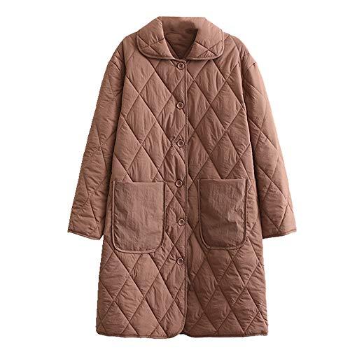 N\P Abrigo de invierno para mujer, largo, suelto, con bolsillo.