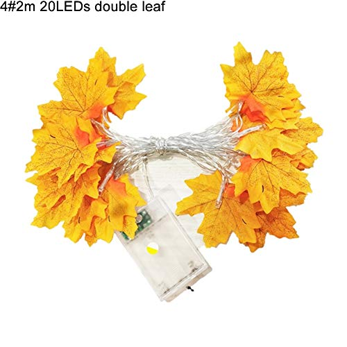 E-House Kerstmis Levert simulatie esdoorn bladeren LED-lamp geschenken licht kerst bruiloft party decoratie - helder geel + rood 1 Rood geel 4