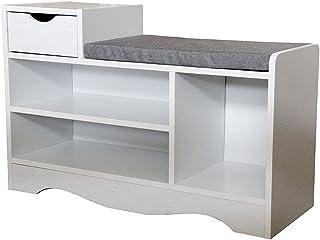 Heute Banc à chaussures avec tiroir de rangement pour chaussures - Banc de rangement avec coussin d'assise - Pour entrée, ...