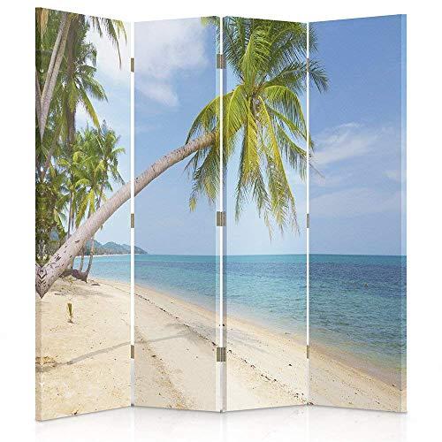 Feeby Frames. Raumteiler, Gedruckten aufCanvas, Leinwand Wandschirme, dekorative Trennwand, Paravent beidseitig, 4 teilig (145x180 cm), Strand, Insel, PALMEN, Sand, Laguna, Tropische Aussicht