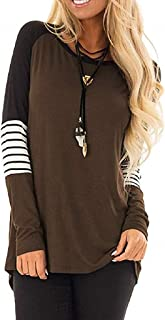4187c07acef231 Women Mix Color Block Tops, Long Sleeve T-Shirt Loose Casual Round Neck  Tunic