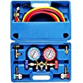 OrionMotorTech 3 Way AC Diagnostic Manifold Gauge Set for Freon Charging, Fits R134A R12 R22 and R502 Refrigerants, with 5FT Hose, Acme Tank Adapters, Adjustable Couplers and Can Tap
