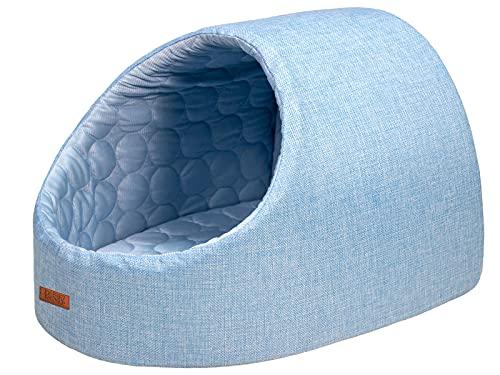 PetStyle ドーム型 ひんやり ペット ベッド 冷感 メッシュ 犬 猫 夏用 Mサイズ (ブルー)