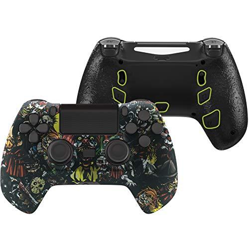 eXtremeRate Scary Party Decade Tournament Controller (DTC) Upgrade Kit for PS4 Controller JDM-040/050/055, Upgrade Board & Ergonomic Shell & Back Buttons & Trigger Stops - Controller NOT Included