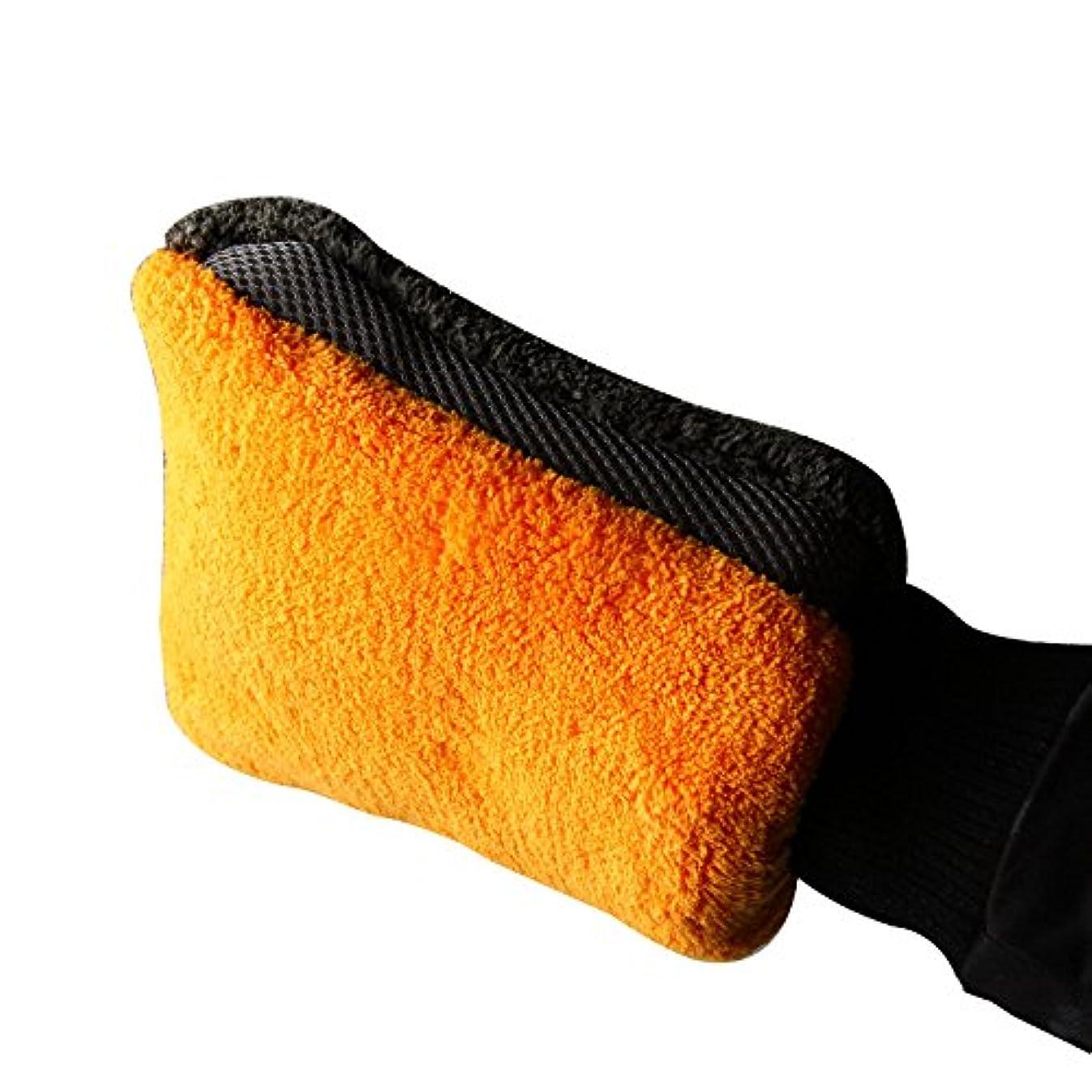 静かな申込み抜け目のないBTXXYJP サンゴフリース 洗車 ブラシ 手袋 クリーニング ミットショートウールミットカークロス (Color : Orange, Size : L-One pair)