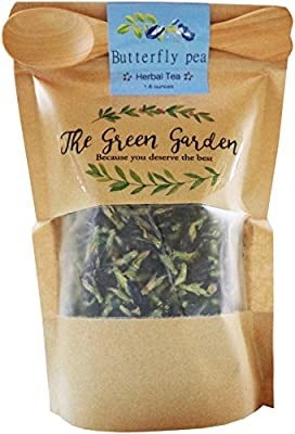 3 Pack 100% Dried Pure Butterfly Pea Flowers 1.60 Oz. (50 g.) Herbals Blue Tea, All Natural Ingredients, Nontoxic, GMO-Free, Safe and Healthy in Zipper Packaging and Get Free a Wooden Spoon by FBA by