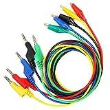 P1044 5 Pcs 4mm 1 m Cordon de Test de Multimètre Ensemble Empilable Prise Banane Fiche Banane à Clip Cordon de Test Silicone Flexible Câble de Test Câble pour Multimètre
