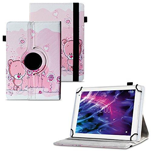 Nauci Medion E6912 Tablet Robuste Universal Tablet Schutzhülle aus hochwertigem Kunstleder Hülle Tasche Standfunktion 360° Drehbar Motiven Cover Case, Farben:Motiv 1