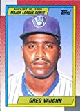 1990 Topps 1989 Debut Baseball #128 Greg Vaughn Milwaukee Brewers Official MLB Trading Cards of Rookies who made their Debut in the 1989 Season. rookie card picture