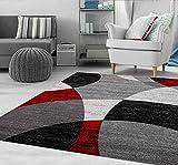 VIMODA Tapis Rouge Salon Chambre à Coucher Géométrique Motif à Cercles Moucheté en Gris Blanc Noir et Rouge - Eco Tex...