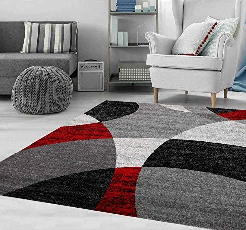 VIMODA Tapis Rouge Salon Chambre à Coucher Géométrique Motif à Cercles Moucheté en Gris Blanc Noir et Rouge - Eco Tex Certifié - Rouge, 80x150 cm