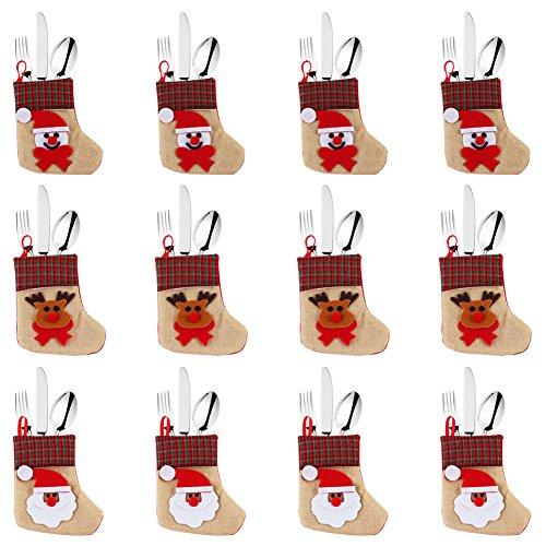 OurWarm Christmas stoviglie borsa 12PCS posate argenteria tasche porta coltelli forchette bag Xmas decorazioni per la tavola casa ristorante sala da pranzo