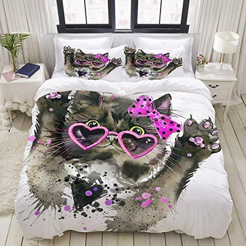 Juego de Funda nórdica, Gracioso Gato Negro Gafas de Sol Lindas Acuarela, Colorido Juego de Cama Decorativo de 3 Piezas con 2 Fundas de Almohada