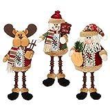 Achort 3 Piezas de Papá Noel Muñeco de Nieve Reno Sentado de Navidad Adorno de Navidad Piernas Largas Adornos de Mesa Chimenea Decoración Figurines de Navidad de Felpa