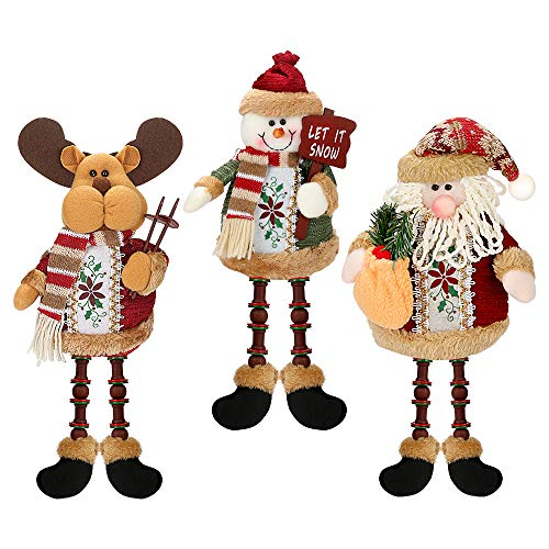 Number-one Christmas Plush Ornaments, Set of 3 Super Cute Christmas Plush Toy Long Leg Sitting Santa Clause Snowman Reindeer Doll, for Girls Boys Gifts Christmas Decorations