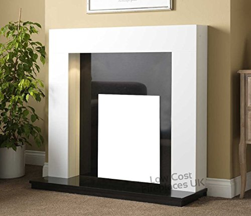 """Gas or Electric White Surround Black Granite Back Panel and Hearth Modern Traditional Fire Fireplace Suite 48"""""""