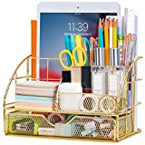 ARCOBIS Desk Organizer with Drawer, Office Desktop Pen Holder with 5 Compartments (Golden)
