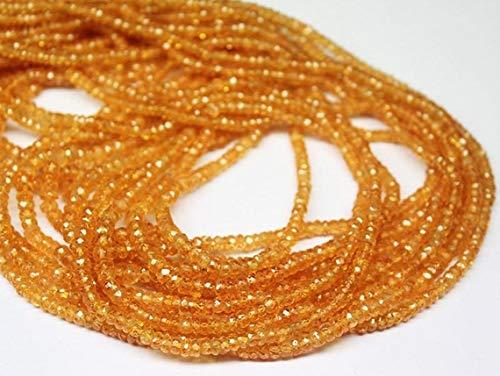 Shree_Narayani Cuentas sueltas de zafiro naranja de alta calidad Strand Micro facetado rondelle 3-4mm 16 pulgadas para hacer joyas DIY manualidades encantos collar pulsera pendiente 1 hebra