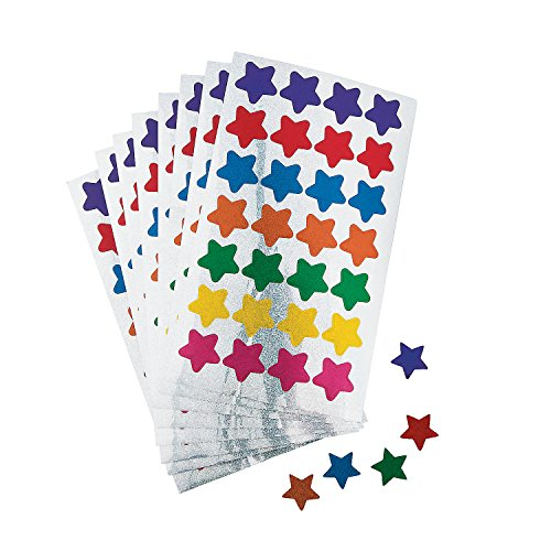 Fun Express Basic Star Stickers - 25 Pieces - Educational and Learning Activities for Kids