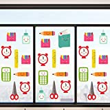 80 Pieces Back to School Window Clings Reusable Static Window Stickers Stationery Style Classroom Window Clings for Wall Glass Car School Day Decorations, 8 Sheets