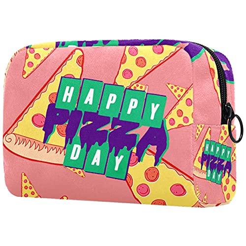 Bolsa de cosméticos Bolsa de Maquillaje Grande Bolsa con Cremallera Bolsa de Aseo Organizador portátil de cosméticos de Viaje día de Pizza para Mujeres y niñas