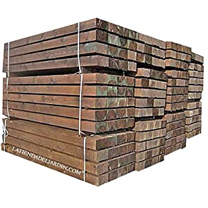 TRAVIESA DE MADERA PARA JARDIN 22x12x120 cm. Color marrón oscuro, madera tratada.
