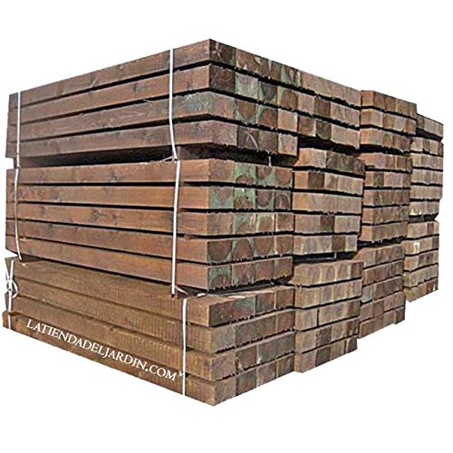 TRAVIESA DE MADERA PARA JARDIN 20x10x250 cm. Color marrón oscuro, madera tratada.