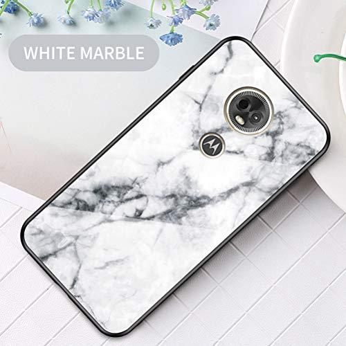 Yoota Funda Motorola Moto E5 Plus, Trasera de Cristal Templado Anti-rasguños [Textura mármol] Tapa Borde de Silicona Suave Cáscara Protectora - Blanco