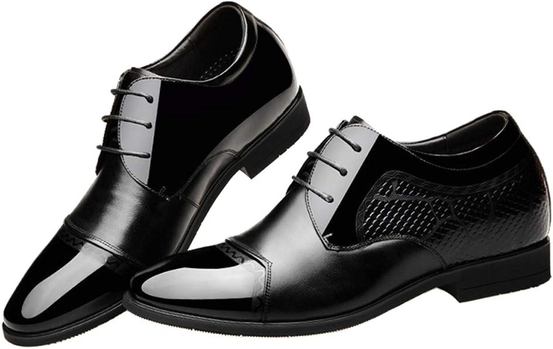 LUCKYEUD Hommes Chaussures De Ville à Lacets Cuir Cousu Derby Oxford Chaussures Robe Pointue Chaussures De Mariage Chaussures,noir-EU41