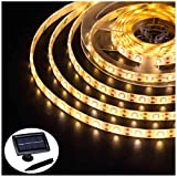 Solar Strip Lights Outdoor Waterproof, Auto ON/Off, 2 Modes, Flexible and Cuttable, Self-Adhesive, 5m 150Leds...