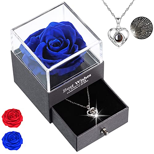 Rosa Eterna, Decorazioni con Testo Ti amo in 100 Lingue all'interno, Confezione Regalo Regali Per Lei, di Matrimonio Compleanno, Mamma