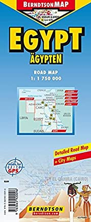 Ägypten/Egypt 1: 1 750 000 +++ Alexandria, Aswan, Greater Cairo, Giza Pyramids, Luxor, Time Zone (BerndtsonMAP) (Road Map/ Landkarte) [Folded Map/ Faltkarte]